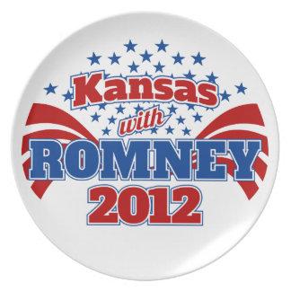 Kansas con Romney 2012 Platos De Comidas