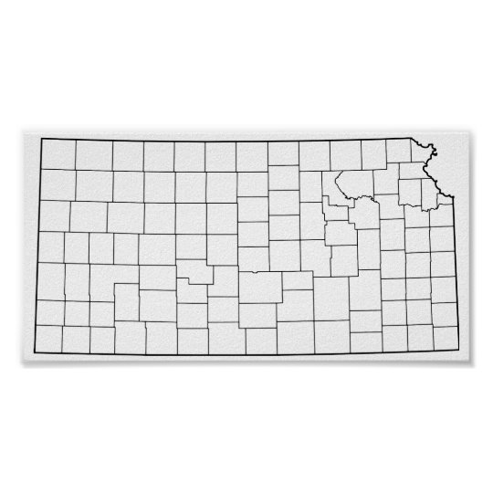 Kansas Counties Blank Outline Map Poster Zazzle Com