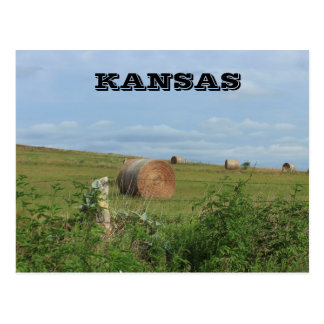 Kansas Country Hay Bale in a field Post Card