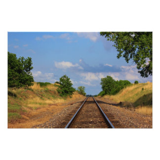 Kansas Country Rail Road track s with blue sky Art Photo