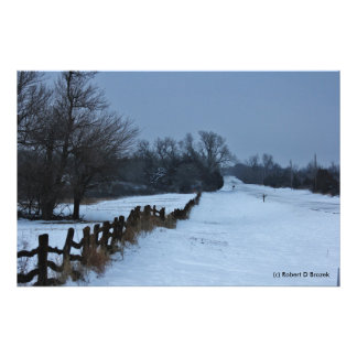 Kansas Country Snowy Fence PHOTO ENLARGEMENT