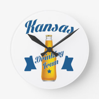 Kansas Drinking team Round Clock