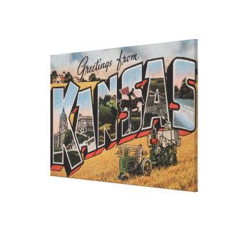 Kansas (escena del depositante del tractor y del h lienzo envuelto para galerias