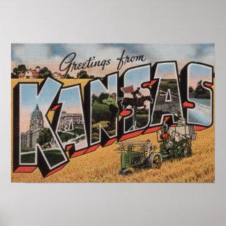 Kansas (escena del depositante del tractor y del h póster