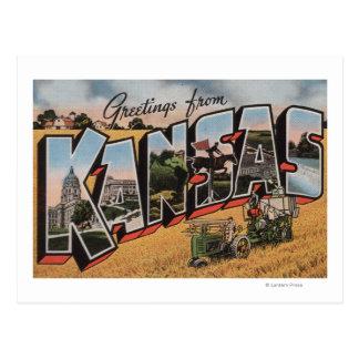 Kansas (escena del depositante del tractor y del tarjetas postales