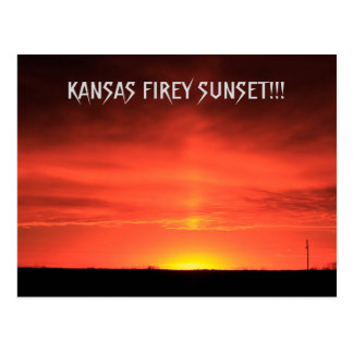Kansas Firey Sunset Post Card