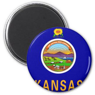 Kansas Flag 2 Inch Round Magnet