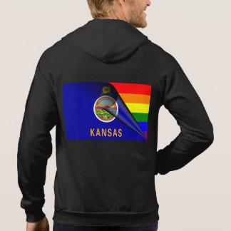 Kansas Flag Gay Pride Rainbow Hoodie