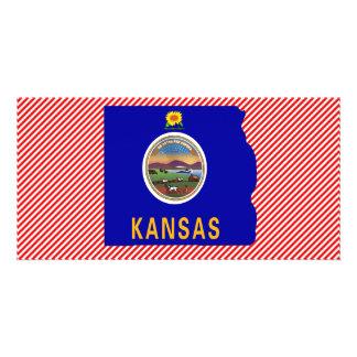 Kansas Flag Map Personalized Photo Card