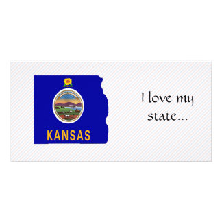 Kansas Flag Map Picture Card