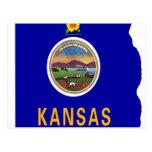 Kansas Flag Map Post Cards