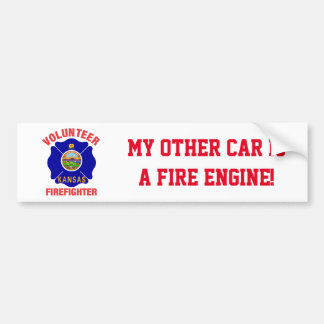 Kansas Flag Volunteer Firefighter Cross Bumper Sticker