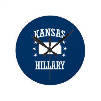 KANSAS FOR HILLARY ROUND CLOCKS