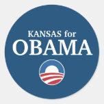 KANSAS for Obama custom your city personalized Classic Round Sticker