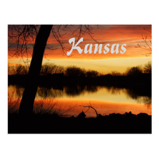 Kansas Golden Sunset Reflection Post Card