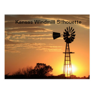 Kansas Golden Windmill Silhouette Post Card