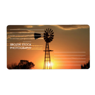 Kansas Golden Windmill  Silhouette Shipping Label