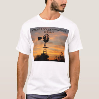Kansas Golden Windmill Sunset T-Shirt