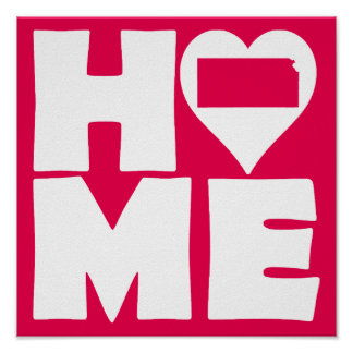 Kansas Home Heart State Poster Sign