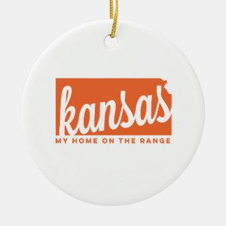 kansas   home on the range   orange ceramic ornament