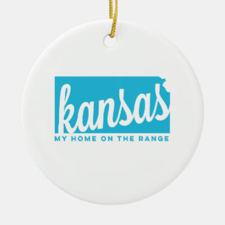 kansas   home on the range   sky blue ceramic ornament