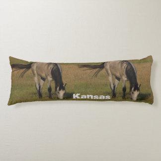 Kansas Horse, Barn, and Harvest Cotton Body Pillow