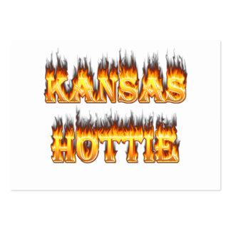 Kansas Hottie fire and flames Business Card Templates