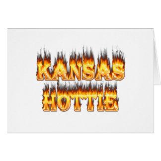 Kansas Hottie fire and flames Card