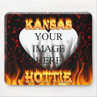Kansas Hottie fire and red marble heart. Mouse Pad