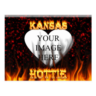 Kansas Hottie fire and red marble heart. Postcard