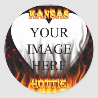 Kansas Hottie fire and red marble heart. Round Stickers