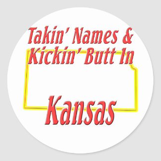 Kansas - Kickin' Butt Classic Round Sticker