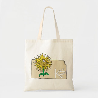 Kansas KS Map with Smiling Sunflower Cartoon Canvas Bags