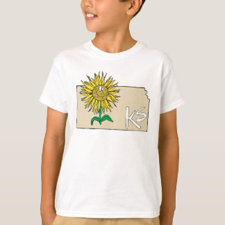 Kansas KS Map with Smiling Sunflower Cartoon T-Shirt