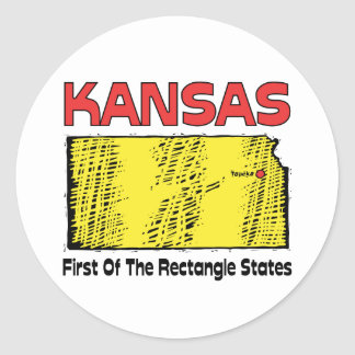 Kansas KS Motto ~ First OF The Rectangle States Classic Round Sticker