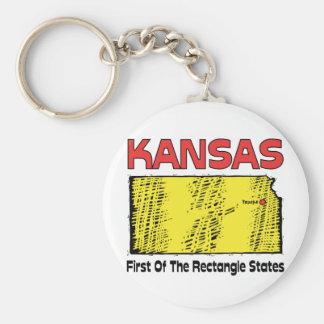 Kansas KS Motto ~ First OF The Rectangle States Basic Round Button Keychain