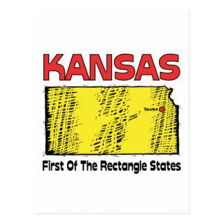 Kansas KS Motto ~ First OF The Rectangle States Postcard