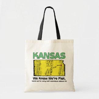 Kansas KS Motto ~ We Know We're Flat Canvas Bags