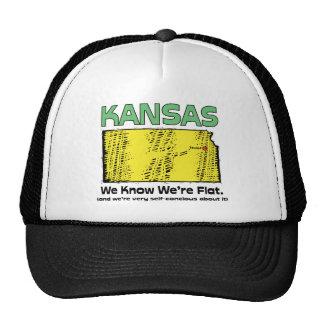 Kansas KS Motto ~ We Know We're Flat Trucker Hat