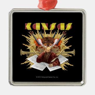 KANSAS - logotipo de la sinfonía Adorno Navideño Cuadrado De Metal