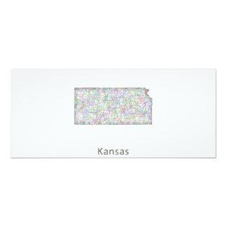 Kansas map 4x9.25 paper invitation card