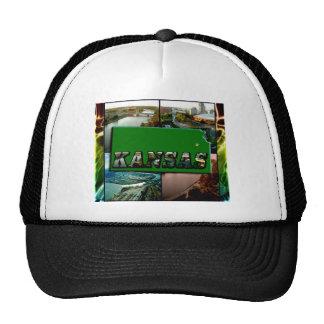 Kansas Map and Photos Trucker Hats