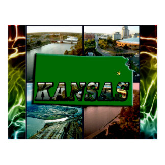 Kansas Map and Photos Postcard