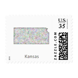 Kansas map postage