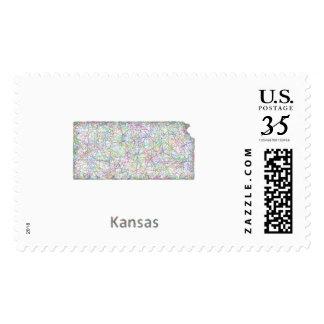 Kansas map postage stamp