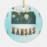 Kansas Map With Lovely Birds Christmas Tree Ornaments