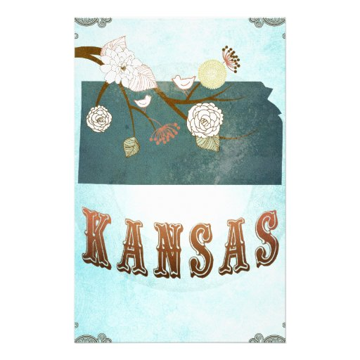 Kansas Map With Lovely Birds Stationery Paper