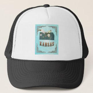 Kansas Map With Lovely Birds Trucker Hat