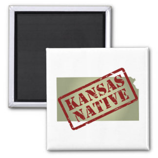 Kansas Native Stamped on Map Magnet