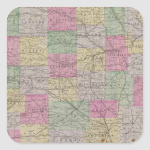 Kansas Official Topographical State Atlas Stickers